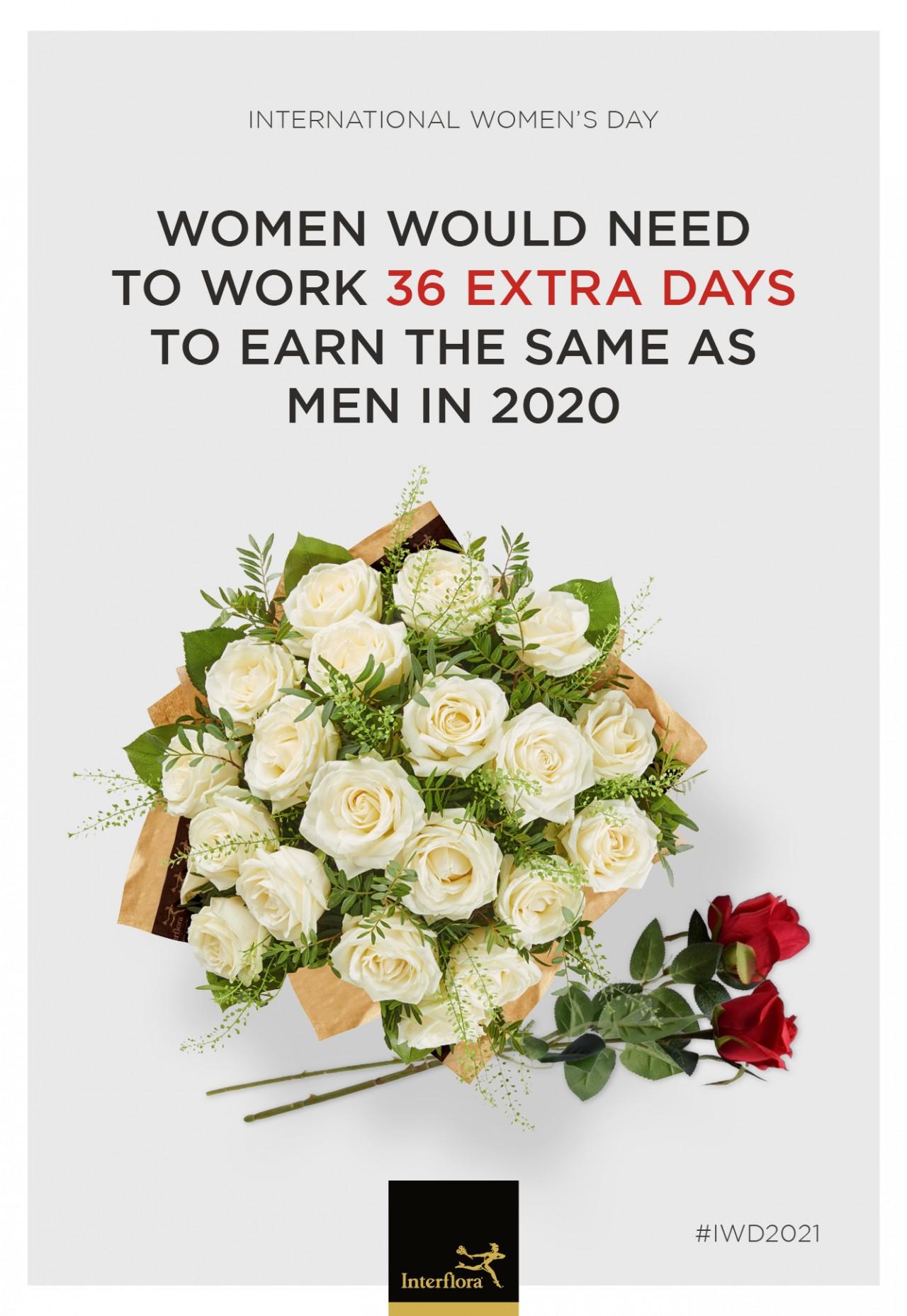 「男女の格差」をバラの花束で表現した、英フローリスト企業のキャンペーン広告